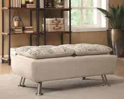modern beige upholstered storage ottoman with serving trays by