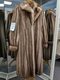 natural full length stone marten fur coat size medium