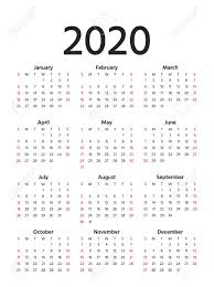 Calendar Yearly 2020 2020 Calendar In Simple Style Vector Stationery 2020 Year Template