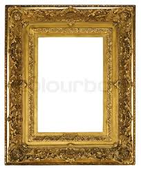 old antique picture frame ornately detailed and gilded for canvas painting or a mirror to hang on the wall stock photo