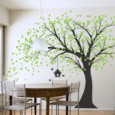 on large wooden tree wall art with large windy tree with birdhouse wall decal
