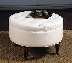 white round leather ottoman coffee table
