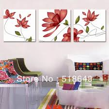 3 panels canvas shiny abstract simple red flowers living room bedroom modern painting decor wall hanging