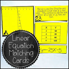 linear equation card match slope intercept form