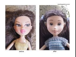 on the left before a doll with large eyes with eye makeup full