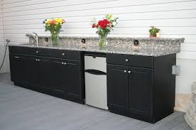 mesmerizing black outdoor kitchen cabinets with flowers decor