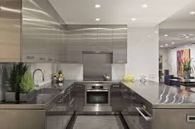 luxury interior silver stainless steel u shape modern kitchen cabinet combine island and square sink plus