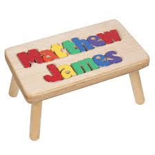 personalized children s wooden puzzle step stool 2 names