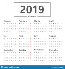 Calendar 2019 Simple Style Vector On White Background Week Starts