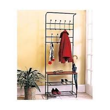Hall Tree Coat Rack Storage Bench Coat amp Hat Racks Entryway Storage Bench Coat Rack Black Metal 32