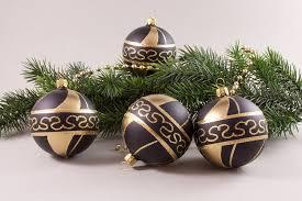 4 Weihnachtskugeln 8cm Schwarz Gold Christbaumkugeln Aus Glas