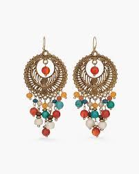 warm beaded chandelier earrings