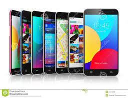 Collection Modern Touchscreen Smartphones Stock Illustration