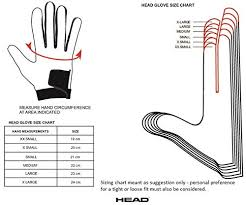 Head Mittens Size Chart Head Sensation Racquetball Left Hand Glove