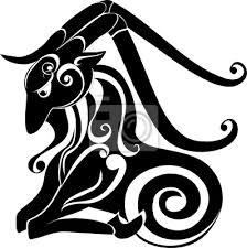 Plakát Tetování Kozoroha Astrologie Znamení Vektor Zvěrokruh