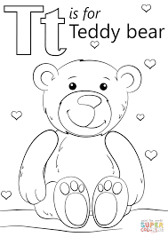 Letter T Is For Teddy Bear Coloring Page Free Printable Coloring Pages