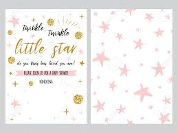 Stars Invitation Template Baby Shower Invitation Template Backgtround With Pink Stars
