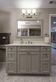 The Dove Gray Vanity In This Full Bathroom Is By Showplace Cabinets Grey Bathroom Cabinets Grey Bathroom Vanity Bathroom Vanity