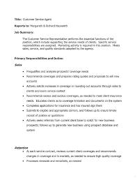 Customer Service Job Description For Resume Representative Duties