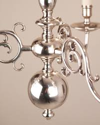 small 3 branch silver plate dutch style antique chandelier antique lighting
