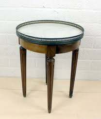 mahogany side table with white marble top in a brass frame mw spoor meubilering