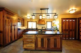 stunning rustic kitchen cabinets with iron four ceiling island lamps over rustic kitchen island and wooden rustic kitchen cabinets decoration ideas