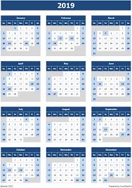 2019 Calendar Excel Templates Printable Pdfs Images