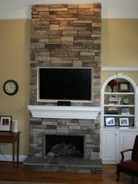 Corner Stone Fireplace Escorted By River Rock Walling Cool Gypsum ...