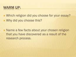 copy and answer all questions ppt video online  which religion did you choose for your essay  why did you choose this