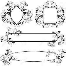 ベクトルの花柄のパターンと白黒フレームのセット