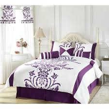 bedding on design with purple duvet cover and white curtain also grey wall for bedroom ideas