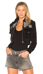 designer understated leather black silver embroidered suede jacket for women on