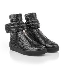 women s black leather snakeskin sneaker