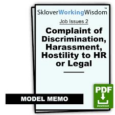 Memo Report Complaint Of Discrimination Harassment Hostility To Hr Or Legal