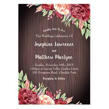 Floral Rustic Wedding Invitations With Burgundy Peach Roses