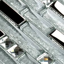 silver metal plated glass tiles for kitchen backsplash mosaic tile interlocking clear crystal wall mirror bathroom