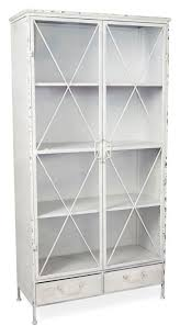 metal bookcase with 2 glass doors and 3 internal metal shelves antique white april oak