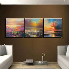Aliexpress : Buy 3 Piece Abstract Wall Art Canvas Sunset Beach Pertaining  To 3 Piece Abstract