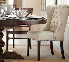 thayer tufted wingback dining chair pottery barn