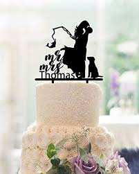 Amazoncom Fishing Wedding Cake Toppers Bride And Groom With Dog Mr