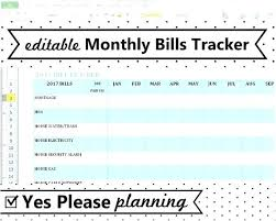 Excel Monthly Bill Tracker Bill Tracking Spreadsheet Template Monthly Budget Excel Spreadsheet