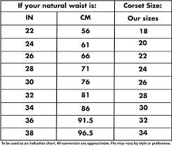 Information Size Chart Corsets