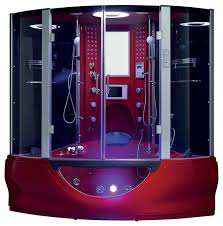 valencia steam shower sauna with jacuzzi whirlpool massage bathtub red