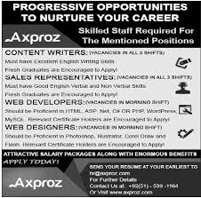 axproz jobs islamabad for content writers s  axproz jobs 2014 islamabad for content writers s representatives web developer designer