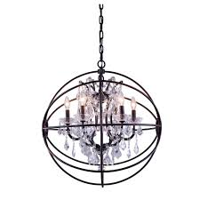 elegant lighting geneva 6 light dark bronze chandelier with silver shade grey crystal