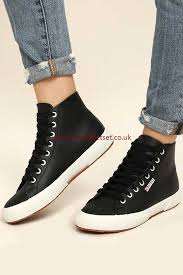 leather high top sneakers for women superga fashion 2795 fglu black ar85892