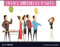 Office Birthday Birthday Party In Office Royalty Free Vector Image