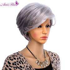 Amir Hair Women Short Wigs For Old Women Synthetic Grey Hair