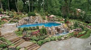 In ground pools with waterfalls Natural Stone Infinityvanishing Edge Swimming Pool Statirpodgorica Inground Swimming Pools Construction And Inground Swimming Pools