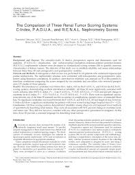 the comparison of three renal tumor scoring systems c index the comparison of three renal tumor scoring systems c index padua and renal nephrometry scores pdf available